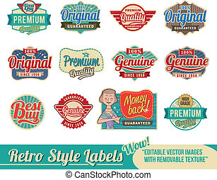 Vintage retro labels and tags - editable vector images with...