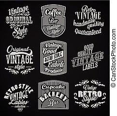 vintage retro labels black background
