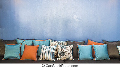 Vintage retro living room with pillows