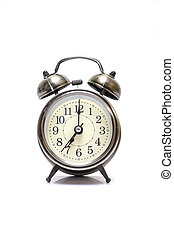 Vintage Retro Look Metal Alarm Clock on iSolated White Background