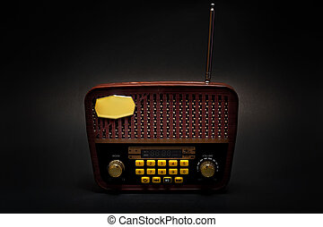 Vintage retro look MP3 player on isolated Black Background.