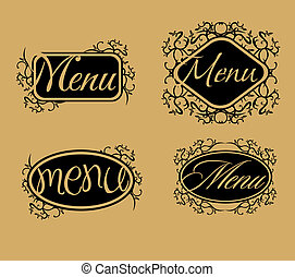 vintage retro menu line vector art
