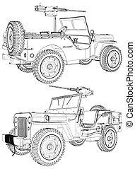 Vintage Retro Military Car Wi...