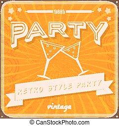 Vintage Retro party invitation.