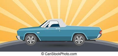 Vintage retro pickup car vector illustration on sun rising yellow background for promotion or old auto festival.