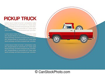Vintage retro pickup truck car with wheel vector illustration on blue background for promotion or old auto festival.