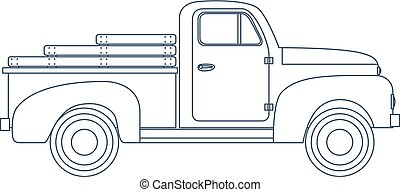 Vintage Retro Pickup Truck isolated on white Background. Vector