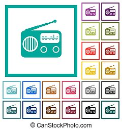 Vintage retro radio flat color icons with quadrant frames on...