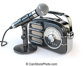 Vintage retro radio receiver and microphone isolated on white.