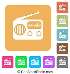Vintage retro radio rounded square flat icons