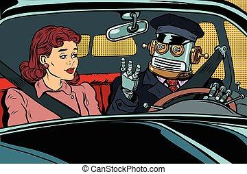 Vintage retro robot autopilot car, woman passenger in...