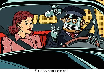Vintage retro robot autopilot car, woman passenger in...