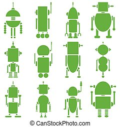 Vintage retro robots 2 plain in gre