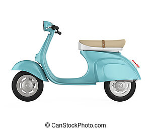 Vintage Retro Scooter Isolated - Vintage Retro Scooter...
