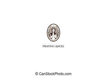 Vintage Retro Sexy Praying Woman Angel Female for Tattoo Logo Design
