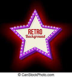 Vintage retro star with lights