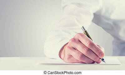 Vintage retro style image of a man signing a paper
