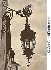 Vintage retro style lamp post birds - Vintage retro style ...