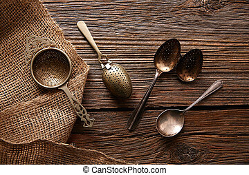 Vintage retro tea Strainers silver brass