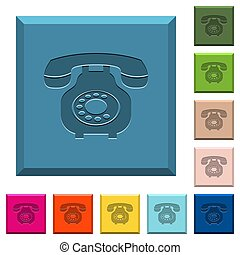 Vintage retro telephone engraved icons on edged square buttons in various trendy colors