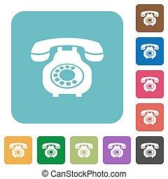 Vintage retro telephone rounded square flat icons