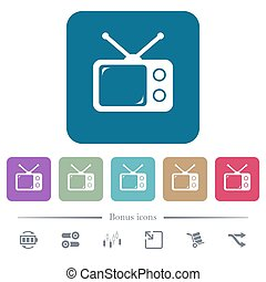 Vintage retro television flat icons on color rounded square backgrounds