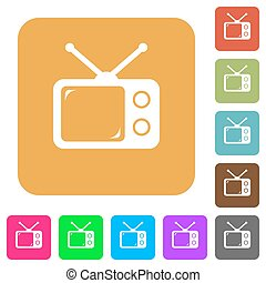Vintage retro television rounded square flat icons