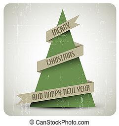 Vintage retro vector grunge Christmas tree