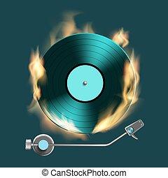 Vintage retro vinyl music disc on fire.