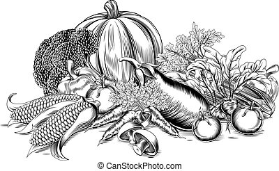 A vintage retro woodcut print or etching style vegetable fresh garden produce illustration