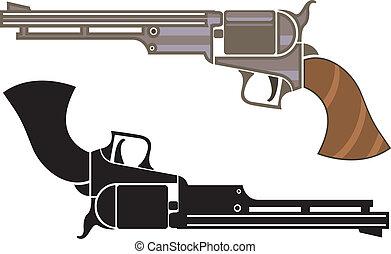 Vintage revolver - vintage revolver illustration clip-art...