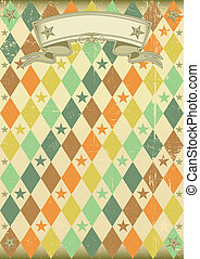 Vintage rhombus pattern poster - A vintage poster with a...