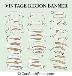 Vintage ribbon banner elements set. Vector illustration.
