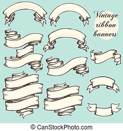 Vintage ribbon banners, hand drawn set - Vintage ribbon...