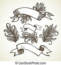 Vintage Ribbon. Hand drawn illustration