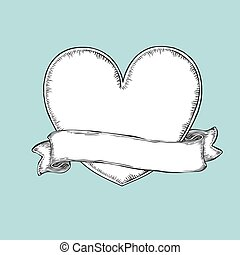 Vintage ribbon over heart. Tattoo template illustration