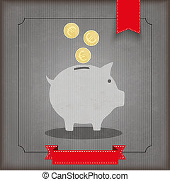 Vintage Ribbon Piggy Bank Coins Euro