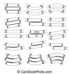 Vintage ribbon set. Vector Illustration
