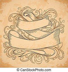 Vintage ribbon with decorative elem