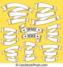 Vintage ribbons banners set