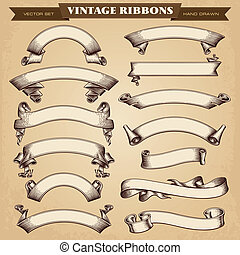 Vintage Ribbons Banners Vector Collection