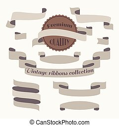 Vintage ribbons collection in vector