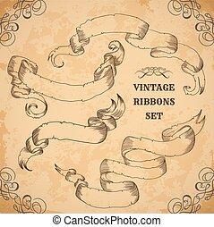 Vintage ribbons set.