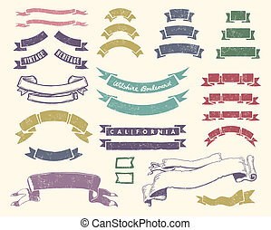 Vintage ribbons set - Vector file includes 3 layers:...