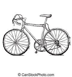 Vintage road bicycle hand drawn illustration