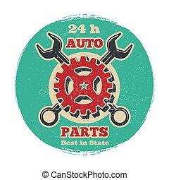 Vintage road vehicle repair service logo design. Grunge car service banner