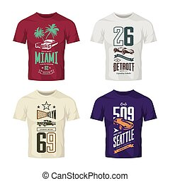 Vintage roadster, classic and sport car isolated vector logo t-shirt mock up set.