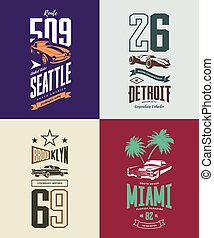 Vintage roadster, classic and sport car isolated vector t-shirt logo set.