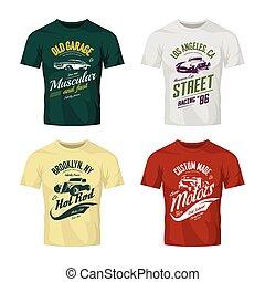 Vintage roadster, custom hot rod and muscle car vector logo t-shirt mock up set.