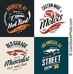 Vintage roadster, custom hot rod and muscle car vector tee-shirt logo isolated set.
